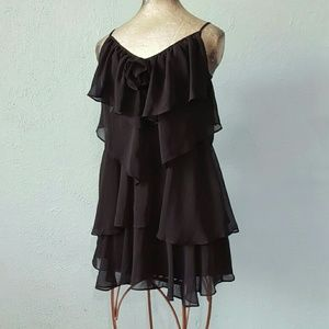 A'reve black ruffled tiered cocktail dress size S